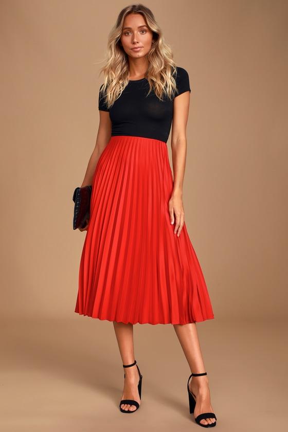 Classic Red Skirt - Satin Skirt - Midi Skirt - Pleated Ski