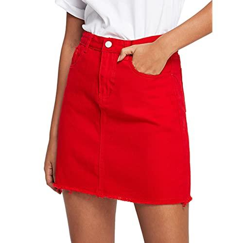 Red Denim Skirt: Amazon.c