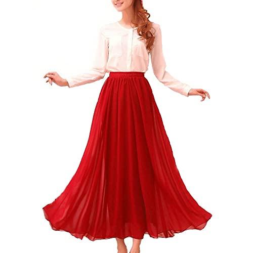 Long Dark Red Maxi Skirt: Amazon.c