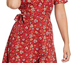 Womens Summer Wrap Dress V Neck Floral Print Boho Red Dress Casual .