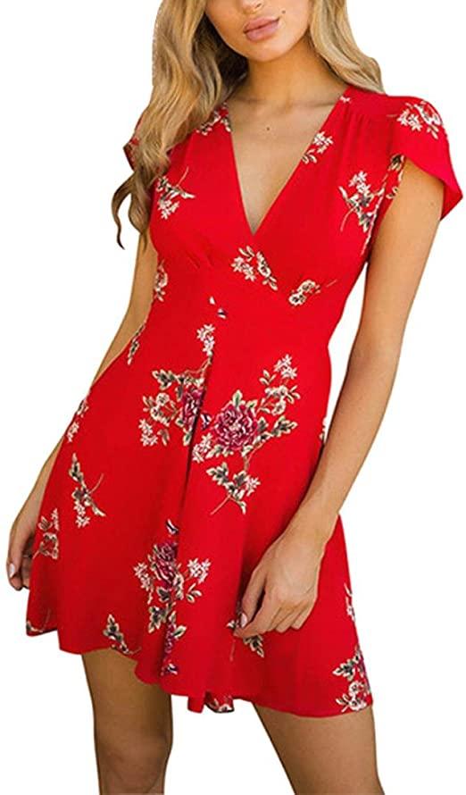 Amazon.com: Paymenow Beach Sundress, Women Summer Dress Floral .