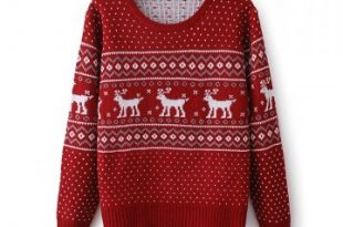 Red Reindeer Embroidered Knitted Sweater on Luul