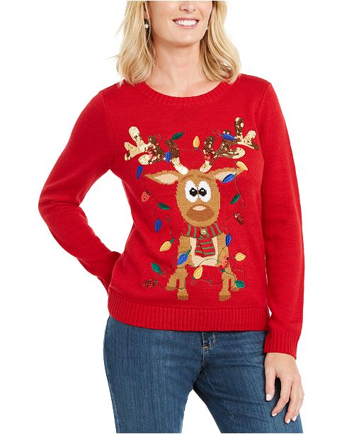 Karen Scott Sequined Tangled Reindeer Sweater, Created For .