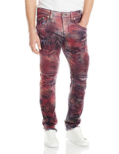Rock Revival Men's Skinny Fit Jeans, Tdy Red, 36 Clout Wear .