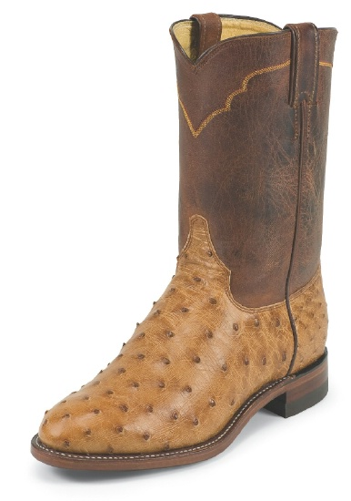Justin 3192 Men's Exotic Roper Boot with Cognac Vintage Full Quill .