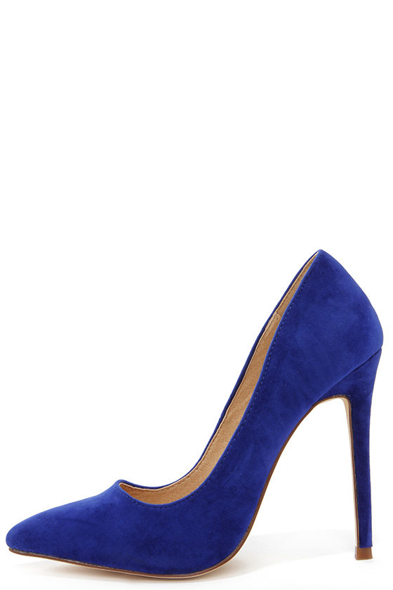Sexy Blue Pumps - Pointed Pumps - Royal Blue Heels - $30.