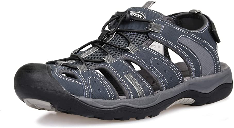 Amazon.com | GRITION Mens Outdoor Hiking Sandals Closed Toe .