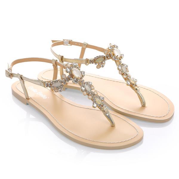 Luna Gold Jeweled Wedding Sandal | Bella Belle Sho