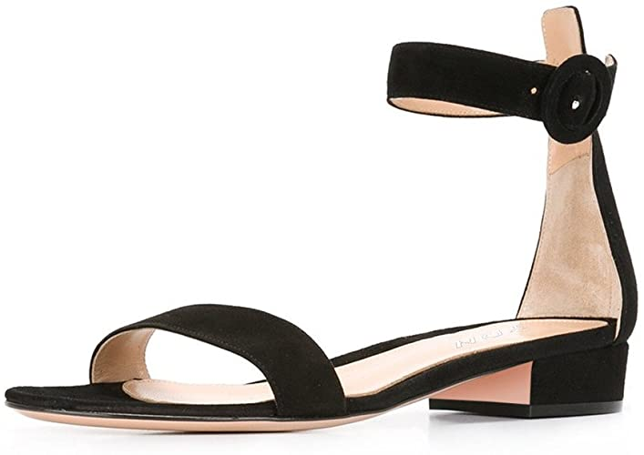 Amazon.com | YDN Women Low Heeled Ankle Strap Sandals Open Toe .