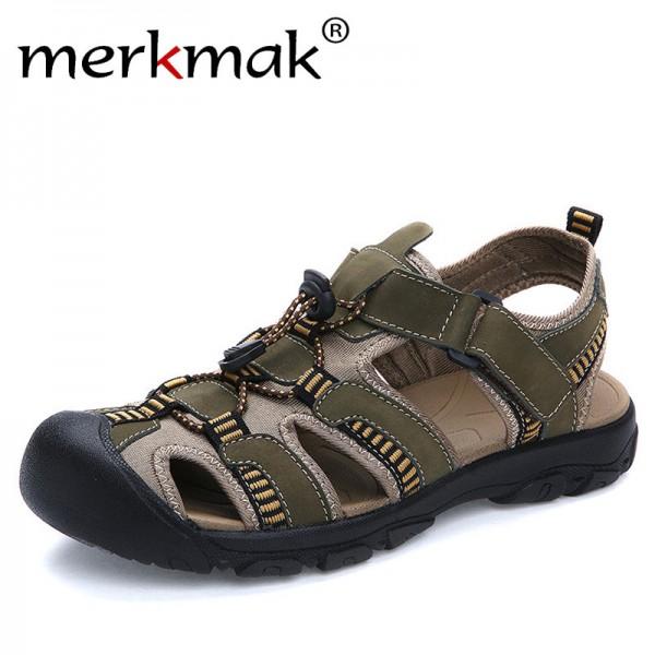 Buy Merkmak Summer Men Sandals Genuine Leather Breathable Shoes .