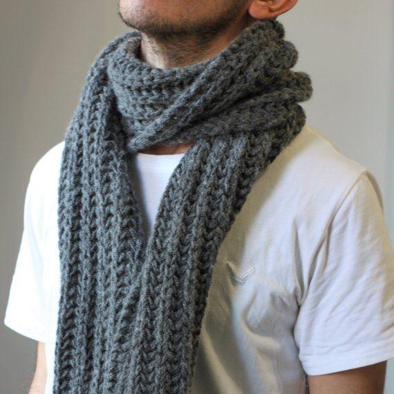 Gray wool scarf, mens grey scarf, men winter scarf, grey wool .