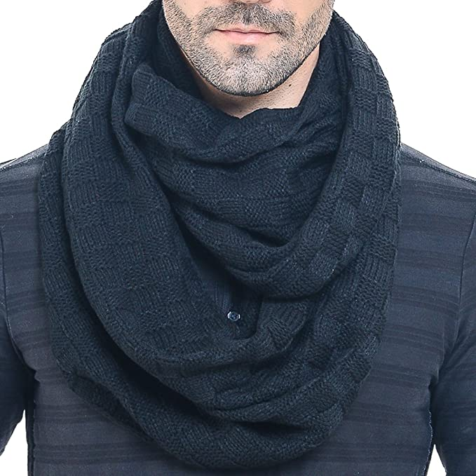 Men Knit Scarf Warm Winter Infinity Scarves E5031b (Black) at .