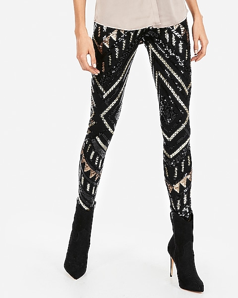 High Waisted Patterned Sequin Leggings | Expre