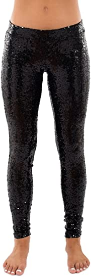 Black Sequin Leggings - Shiny Black Tights for Women at Amazon .