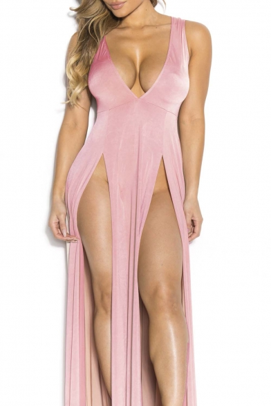 Women'S Sexy V Neck Side Split Club Dress Bandage Bodycon Party .