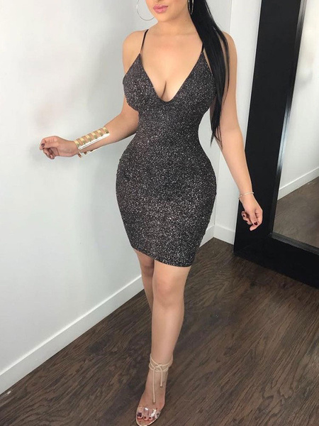 Sexy Club Dress Black V Neck Backless Cut Out Shaping Mini Dress .