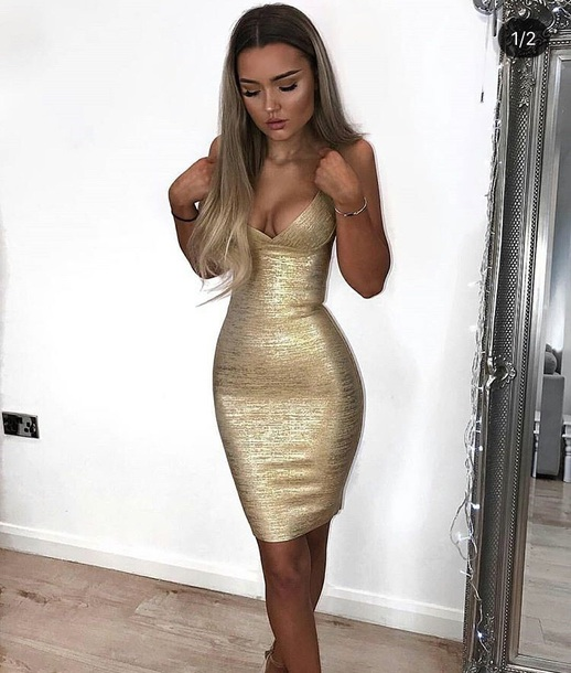 dress, gold, gold dress, bodycon, bodycon dress, party dress, sexy .