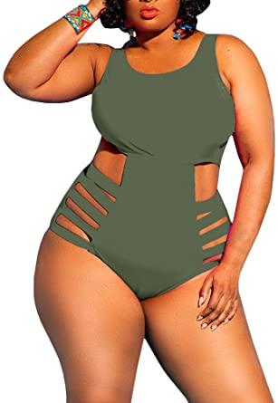Flawerwumen Womens One Piece Bandage Swimwear High Waist Plus Size .