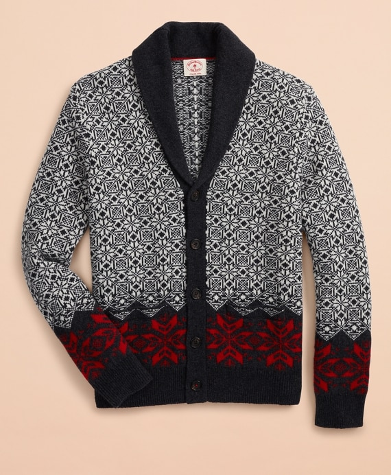 Nordic-Pattern Shawl-Collar Cardigan - Brooks Brothe