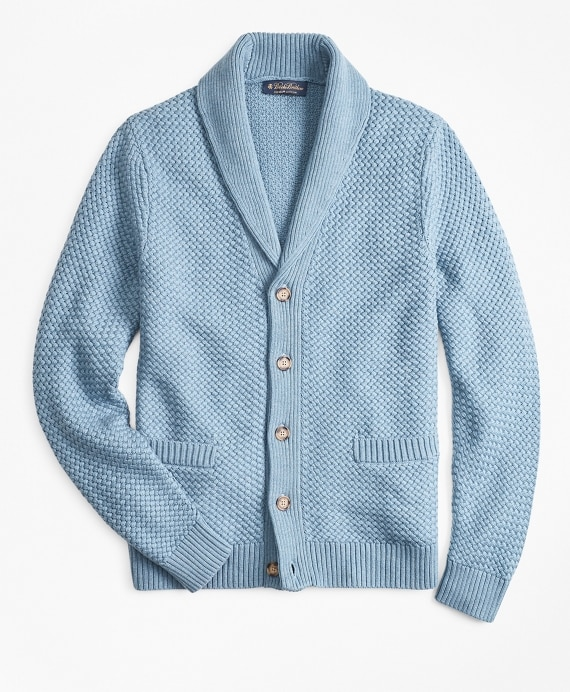 Basket Stitch Shawl Collar Cardigan - Brooks Brothe