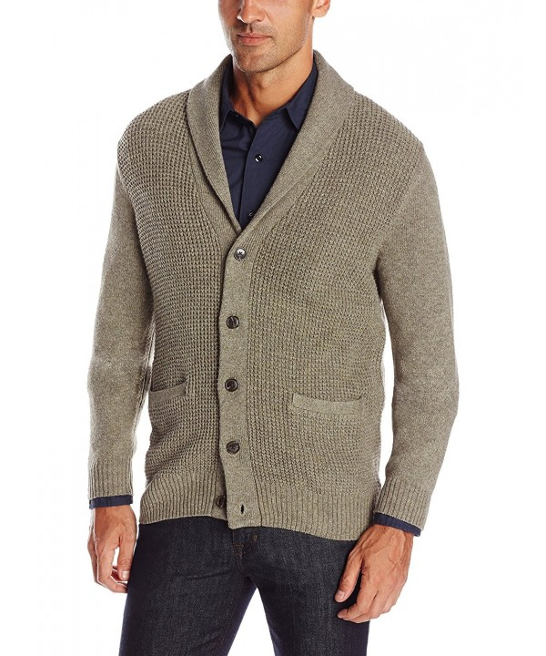 Men's Long Sleeve Shawl Collar Cardigan Sweater - Taupe - CH12CV2I9