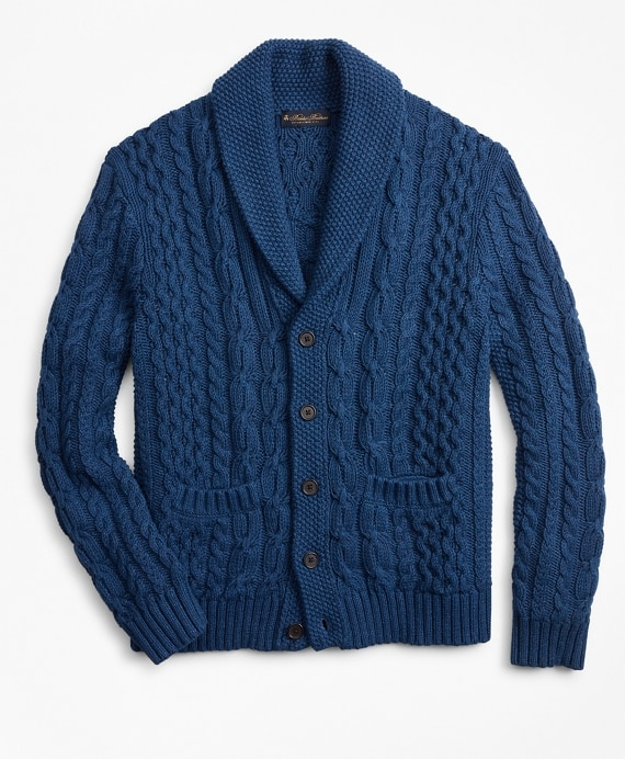 Shawl Collar Cable Cardigan - Brooks Brothe