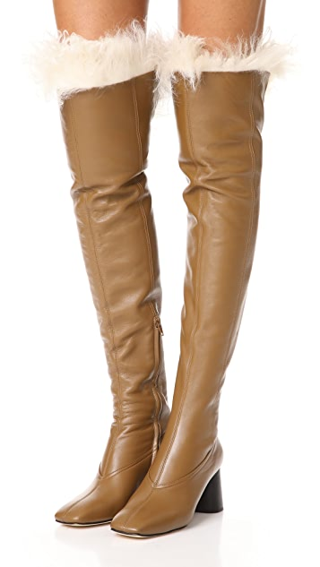 Helmut Lang Over the Knee Shearling Boots | SHOPB