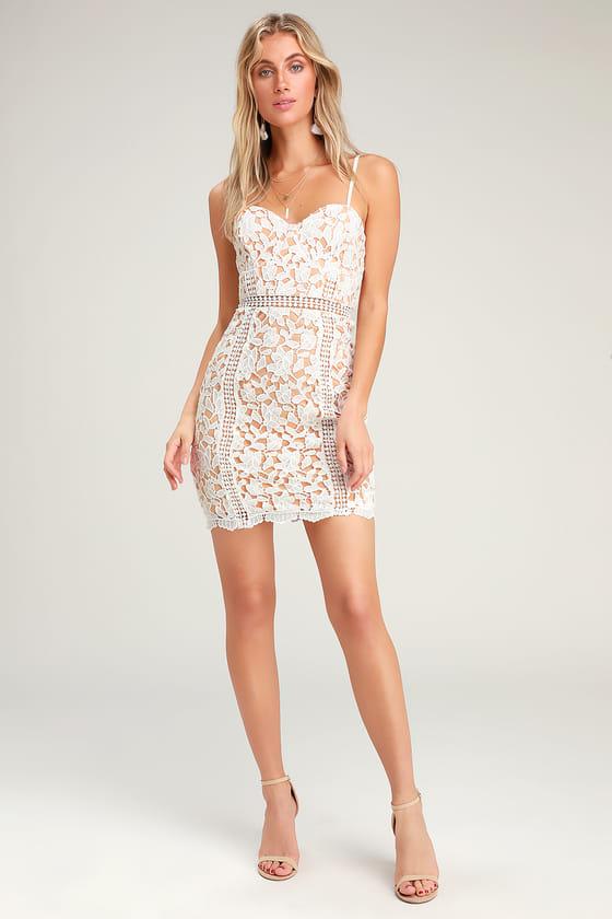 Lovely White Dress - Lace Dress - Sheath Dre