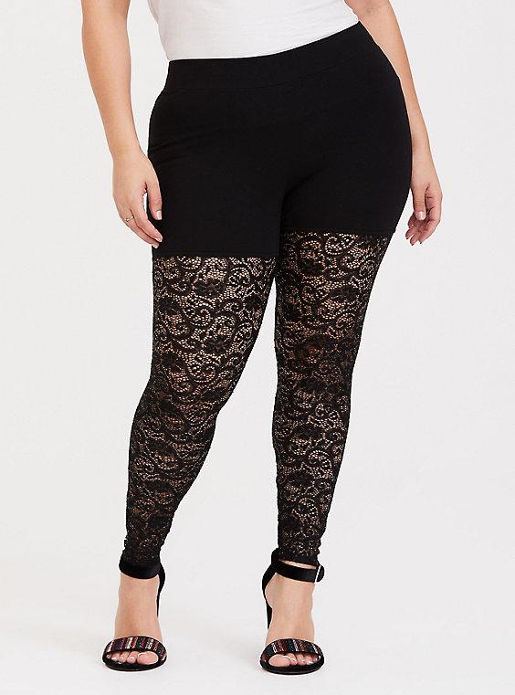 Plus Size - Premium Legging - Sequin Lace Semi-Sheer Black - Torr