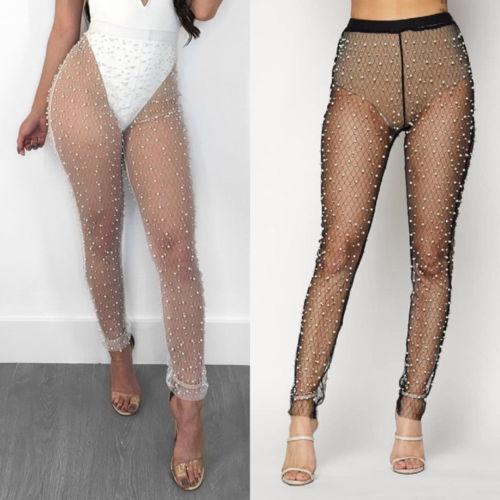 Women Mesh Bead Sheer Legging Transparent See Through Skinny .