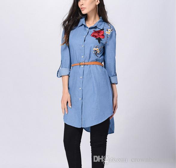 Women Blue Denim Shirt Dress Casual Loose Long Sleeve Embroidery .
