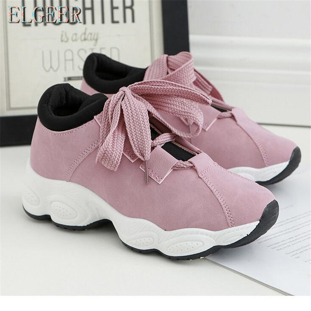 ELGEER 2018 spring new casual shoes girls Korean students wild .