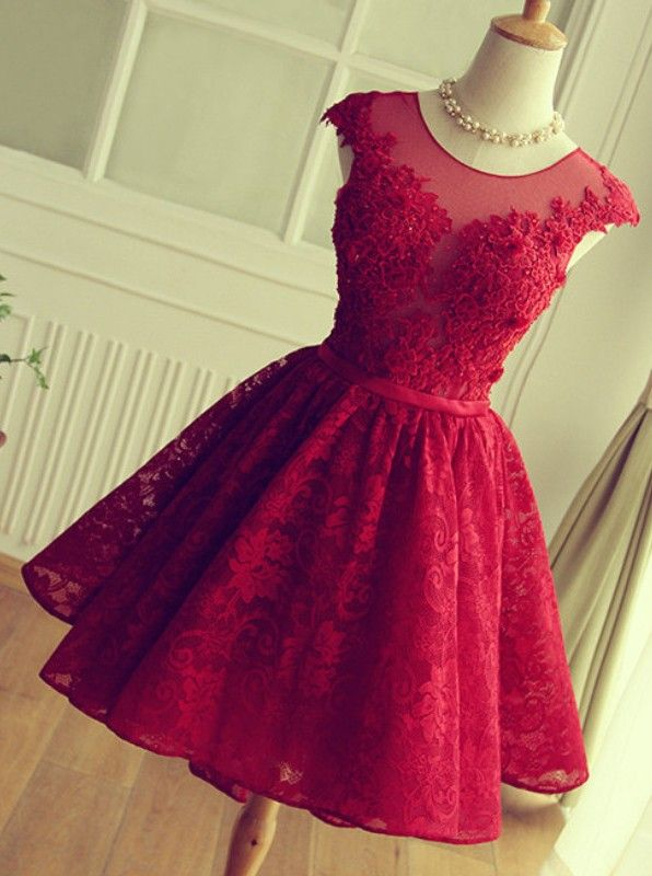 Women's Red Lace Dress Short,Formal Dresses For Women,Prom Party .