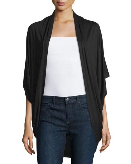 Neiman Marcus Short-Sleeve Cocoon Cardigan, Bla
