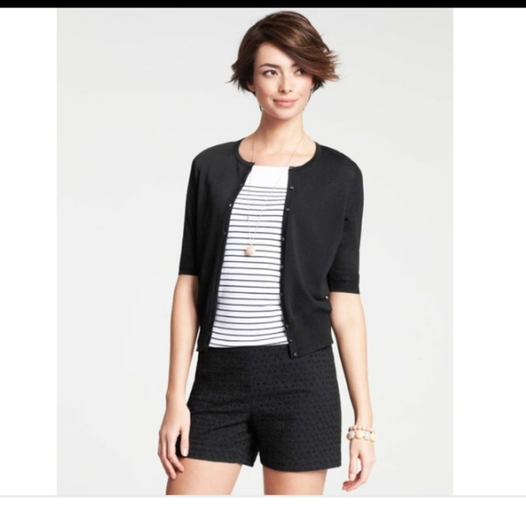 Ann Taylor Sweaters | Black Short Sleeve Cardigan | Poshma