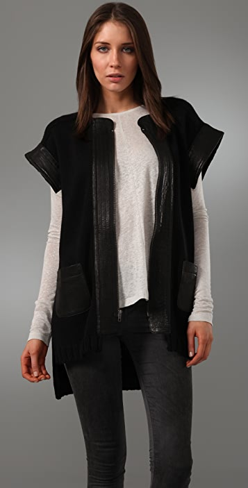Cut25 by Yigal Azrouel Short Sleeve Cardigan Sweater with Leather .