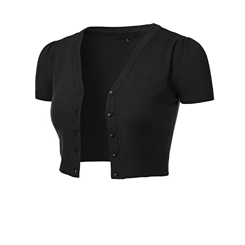 Women's Black Sweater with Short Sleeves: Amazon.c