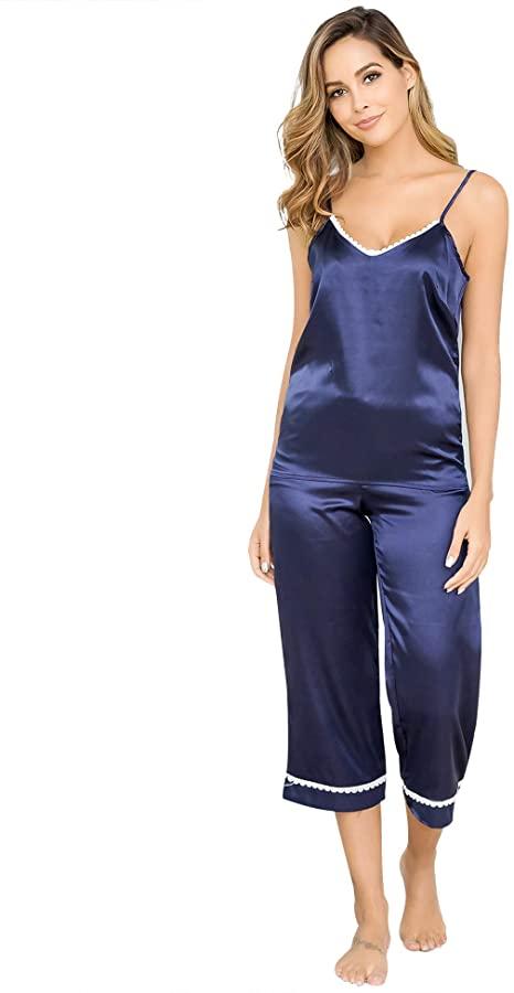 Aibrou Womens Pyjama Sets Satin 2 Piece, Silk Pyjamas Womens .