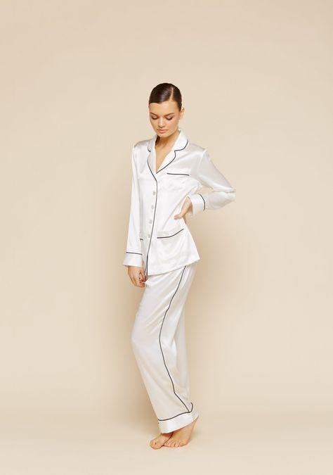 Coco Ivory Silk Pyjama | Silk pajamas, Pyjamas, Fashi