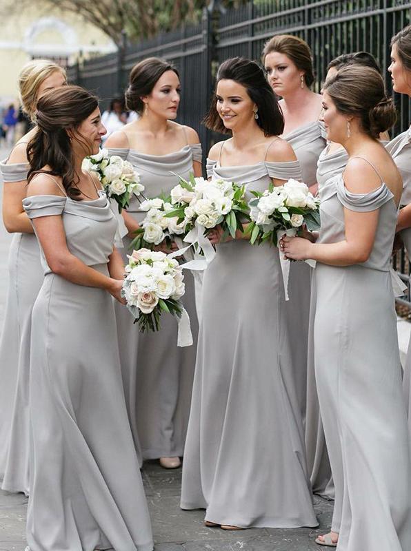 Silver Bridesmaid Dress,Chiffon Long Bridesmaid Dress,Off the .