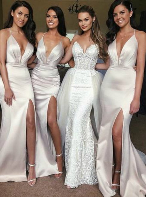 Mermaid Silver Gray Spaghetti Straps Backless Pleats Bridesmaid Dre