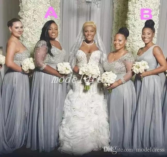 Plus Size Silver Bridesmaid Dresses Floor Length Major Beading .