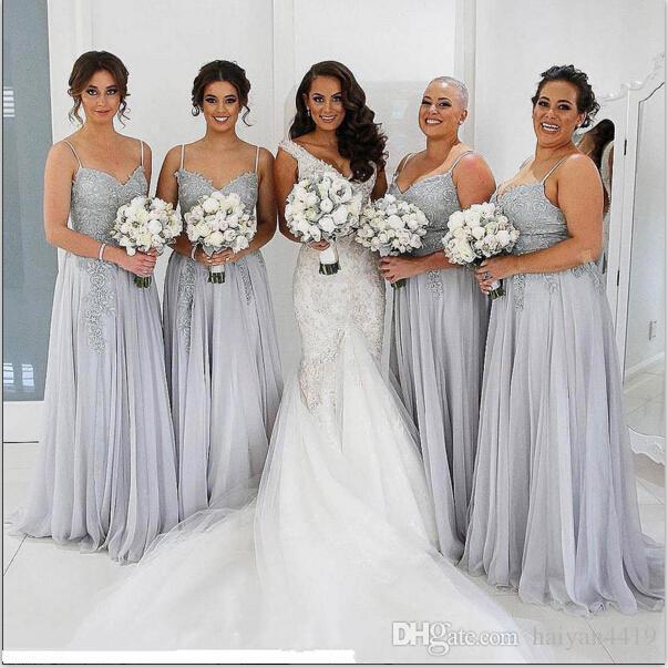 New Cheap Sexy Silver Bridesmaid Dresses Spaghetti Straps Lace .