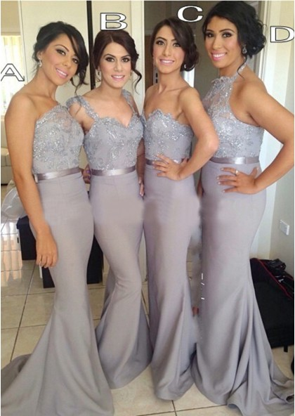 Sheath Silver Sequins Chiffon Long Bridesmaid Dresses / Gow