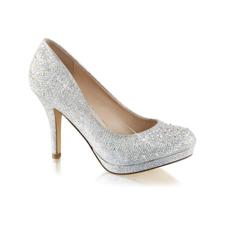 Fabulicious - Womens Silver Rhinestone Shoes Glitter Pumps Sparkly .