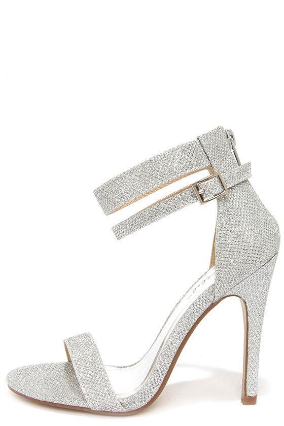 Pretty Glitter Heels - Silver Heels - Ankle Strap Heels - $29.
