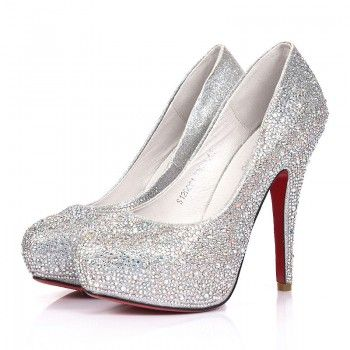 Silver Sparkly Heels For Women