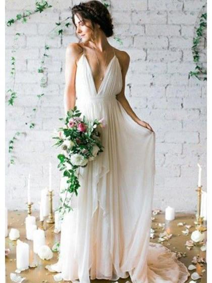 A-line Deep-V Sweep Train Chiffon Simple Wedding Dresses ASD26738 .