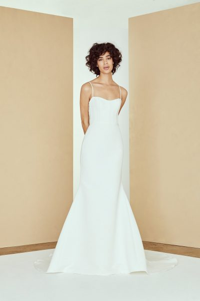 Spaghetti Strap Fit And Flare Simple Wedding Dress | Kleinfeld Brid