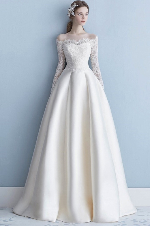 Floor Length A Line Simple Wedding Dress Satin Bridal Dress Korean .